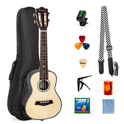 Kmise - Ukulele hawaiano da concerto, kit per principianti, solida tavola armonica con manico da chitarra classica, 58,4cm, per amanti della musica e principianti 23 inch Solid Spruce Rosewood