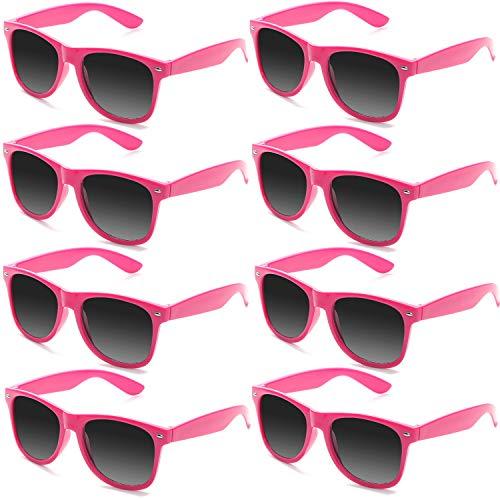 FSMILING 8 Paare Neon Party Sonnenbrille Set 80er Retro Klassisch Partybrillen Für Kinder Herren Damen(Hot Pink)