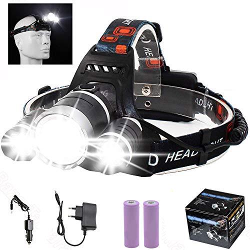 DEPALMERA✮ Linterna Frontal LED Recargable 9000LM, de Cabeza con bateria Baterías recargables 18650, Cargadores 220v y 12v Indicado para Camping, Pesca, Ciclismo, Carrera, Caza etc.