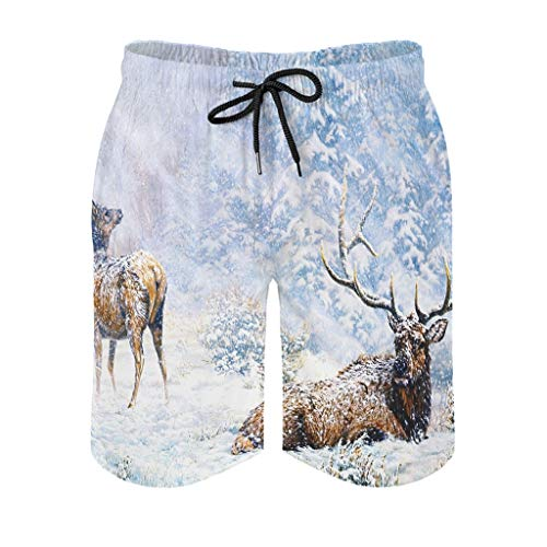 kikomia Men's Swimming Trunks Snow Moose Deer Forest Painting Wildlife Print Funny Surf Shorts with Pockets, mens, White, 4XL