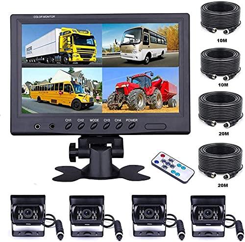 OiLiehu 9 '' Cámara De VisióN Trasera para AutomóVil con 4 Monitores Separados Vista Frontal, 4 X CáMara de AutomóVil con Cable, con Cables de 2 X 10 m y 2 X 20 m, para Camiones, Remolques, Autobuses
