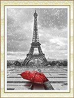 ダイヤモンドの絵画 ダイヤモンド刺繡エッフェル塔5Ddiyダイヤモンド絵画ラインストーンモザイクビーズ細工の完全な正方形の風景写真