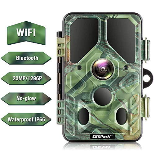Campark WLAN Bluetooth Wildkamera 20MP 1296P, WiFi No Glow Night Vision Wildtierkamera mit Nachtsicht Wildlife Jagdkamera, Überwachungswinkel Bewegungserkennung IP66 Wasserdicht