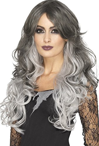 Dames Fancy Halloween Dress Party Ombre Style Deluxe Gothic Bruid Pruik Grijs