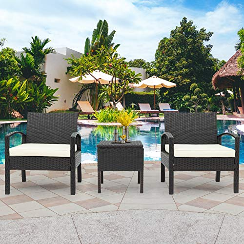 Polyrattan Sitzgruppe für 2 Personen, Poly Rattan Lounge Set, 2 Sessel Bank & Tisch 5cm Dicke Auflagen Sitzgruppe Garten Balkonset Gartenmöbel,Braun