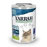 Yarrah nourriture humide Bio pour chats de tous âges I Pâté gourmand en boîte avec poisson et algues spirulines, 12 x 400gr I 100% bio, sans céréales et sans additifs artificiels