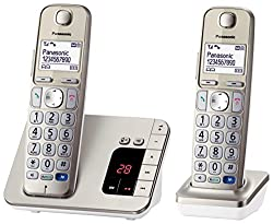 Panasonic KX-TGE222GN Big Button Phone, Hearing Aid Compatible, Handy Seniors Phone, Cordless, Champagne