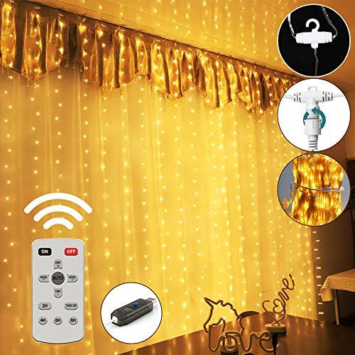 LED Lichtervorhang Lichterketten 300 LED 3M Stimmungslichter USB mit Fernbedienung für Schlafzimmer, Hochzeit, Weihnachten, Warmweiß
