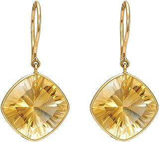 Gehna 18k Yellow Gold and Citrine Hoop Earrings for Women
