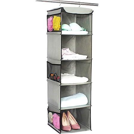 BrilliantJo Armoire de Rangement Suspendue, 5 étagères Armoire de Rangement Pliante Organisateur d'armoire en Tissu avec 6 Poches latérales, Gris 30 x 30 x 108 cm