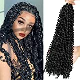 8 Packs Passion Twist Hair 18 Inch Passion Twist Crochet Hair For Black Women Water Wave Crochet Braiding Hair Extensions (1B)