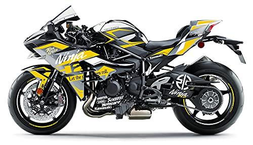 Motostick Graphics Kit de calcomanías compatible con Kawasaki Ninja H2 'H2' 2015-2021 (amarillo)