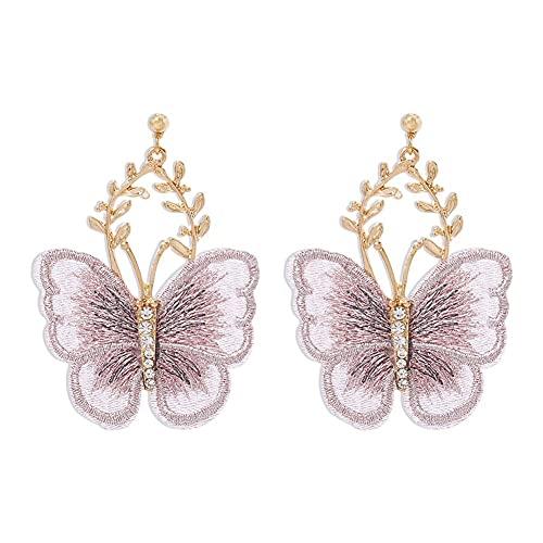 Pendientes de mariposa bordados, pendientes de encaje de aleación de temperamento de hadas súper antiguos creativos