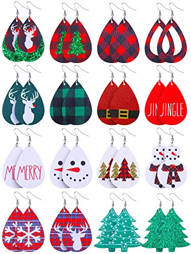 16 Pairs Christmas Faux Leather Earrings Lightweight Faux Leather Earrings Holiday Earrings for Women