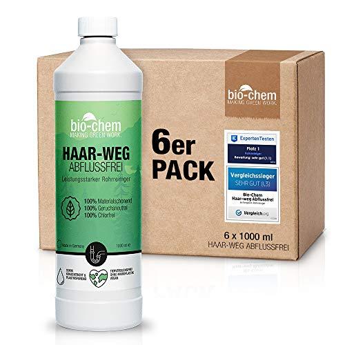 Bio-Chem Haar-Weg Abfluss-Frei Sparpack 6x1000 ml Abflussreiniger Rohrreiniger chlorfrei