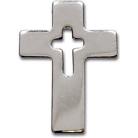 MaMeMi - Spilla a forma di croce, colore: Argento