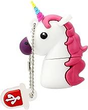 Novedad Flash Memory Stick Blanco Unicornio Shape Design 64GB USB 2.0 Flash Drive Cute Horse Thumb Drive Almacenamiento de Datos Pendrive Cartoon Jump Drive Gift