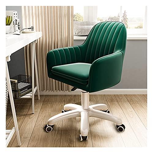 VIVIANSHOP Silla de ordenador para estudiantes, sofá, silla de estudio, silla reclinable, silla de escritorio giratoria, color verde oscuro