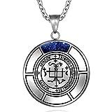 Sigil of Archangel Gabriel Magic Medallion Angel Amulet Blue Goldstone Pendant 18 inch Necklace