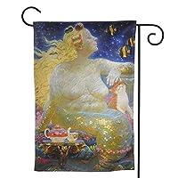 な丽な人鱼姫 のぼり旗 ガーデンフラッグ 両面 防風 サイン 休日を祝う 美しい 庭の装飾 アンティークの冬 ガーデンバナー ファッション 屋外装飾 贈り物