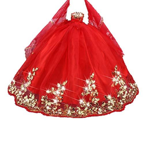 """Fully Robe de soirée Princesse avec Robe de mariée et Jeu de Simulation de Voile pour Poupées 29cm / 11.41 """" (Rouge)"""