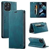 uslion Funda para iPhone 13 Pro RFID, funda protectora para teléfono móvil, tarjetero, billetera, cierre magnético, funda de piel para iPhone 13Pro, color azul