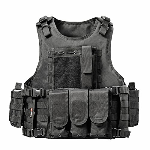 YAKEDA® Army-Fans Tactical Vest Cs Feld Swat Tactical Vest Army-Fans im Freien Weste Cs Spiel Vest Cosplay von Counter Strike Spiel Vest-322 (schwarz)