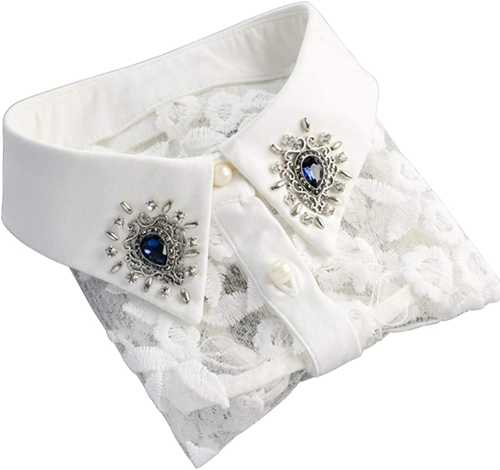 YOUSIKE Neck Chain, Women Rhinestone Lace Embroidery Shirt False Collar Detachable Fake Necklace