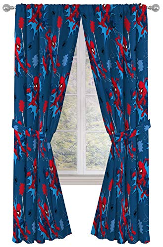 """Marvel Spiderman Spidey Daze 84"""" Inch Drapes - Beautiful Room Décor & Easy Set Up, Bedding - Curtains Include 2 Tiebacks, 4 Piece Set (Official Marvel Product)"""