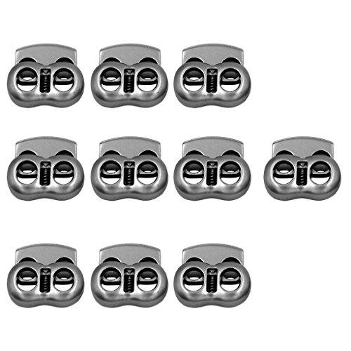 MagiDeal Metall Kordelstopper 2 Loch Verbindungselement Kordelklemme Anti-Rutsch, Mengen Auswählbar - 10 Stücke - Grau