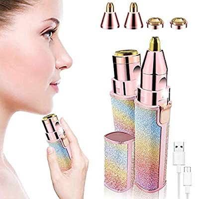 2 in 1 Eyebrow Trimmer & Facial Hair Remover for Women, Rechargeable Eyebrow Razor and Painless Hair Removal, Hair Trimmer and Body Shaver for Lips Nose Face with Two Replacement Heads & LED Light