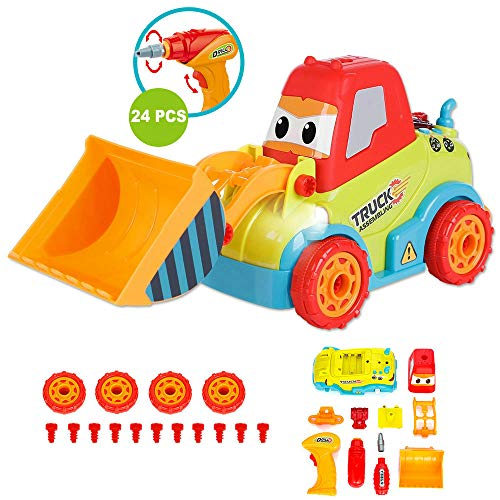 LUKAT Toys for 3 Year Old Boys, Take Apart Toys Truck Toddler DIY Assembly Construction Bulldozer with Drill Tool/ Music/ Lights, Kids STEM Toy Car for 3-4-5 Years Old Boys Preschool Learning