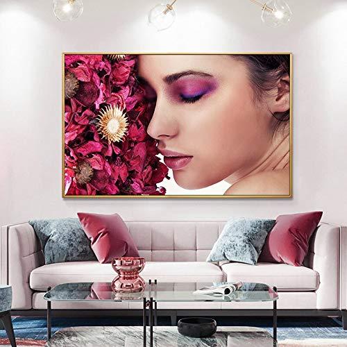 wZUN Pintura al óleo de Labios Sexy en Lienzo de Sombra de Ojos Colorida Belleza Maquillaje Arte Carteles e Impresiones Mural de la Sala de Estar 50x70 cm