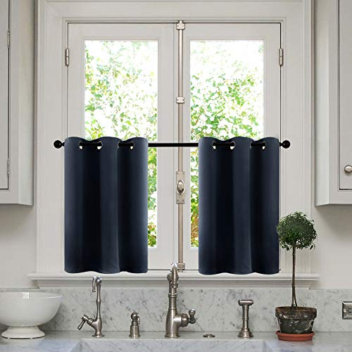MRTREES Tier Curtains 36 Inches Long Room Darkening Kitchen Tiers Bathroom Short Curtain Triple Weave Small Cafe Curtains Half Window Treatment Set 2 Panels Grommet Top Navy Blue