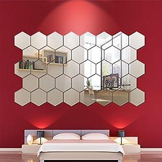 10 pegatinas de pared con espejo hexagonal, acrílico 3D, para decoración de espejo de pared, adhesivo moderno para el hoga...