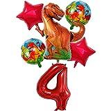 DIWULI, Gran Juego de Globos de Dinosaurios, 1x Globo Dino XXL + Globo XXL número 4 + 2X Globo de Estrella roja + 2X Globos de Papel de Aluminio Dino 4º cumpleaños, cumpleañero de niños