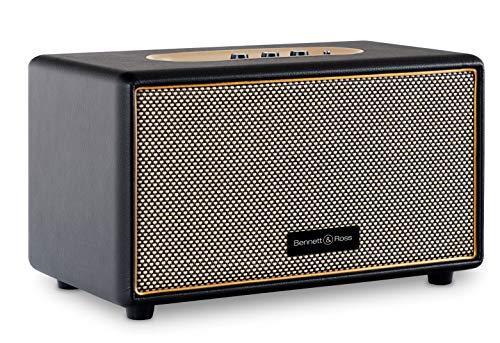Bennett & Ross BB-860BK Blackmore - Retro Bluetooth Lautsprecher in Lederoptik - Vintage Speaker mit 2X 30W Leistung - USB-Eingang mit MP3-Player - 3,5mm Klinke Aux-Anschluss - Schwarz
