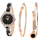 Xinge Women's Dress Bracelet Watch and Bangle Set Rose Gold Black Band D3866L