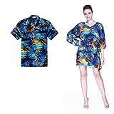 Pareja Hawaiano Combinación Luau Aloha Camisa y Poncho Vestido en Sol Azul XL