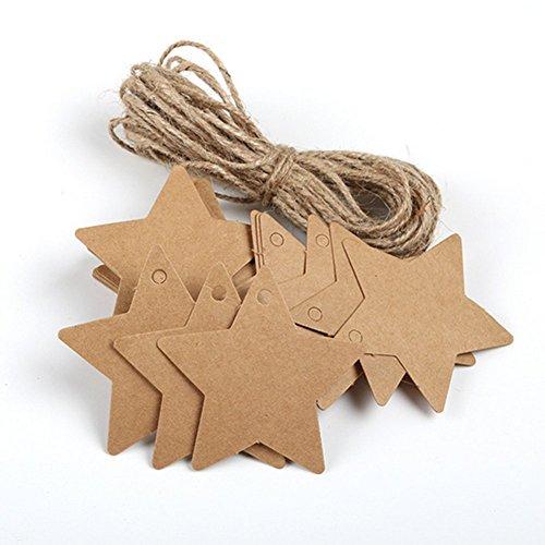 Wicemoon 100 x Kraftpapier fünfzackige Stern kleine Etikett +2 Mx 2mm grobe Hanf Seil Leere Papier Karte Wort Stimmung Karte Hand Seife Tag Anhänger