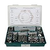 Sortiment M8 DIN 933 Edelstahl A2 (V2A) Sechskantschrauben mit Gewinde bis Kopf - Set bestehend aus Schrauben, Unterlegscheiben (DIN 125, 127, 9021) und Muttern (DIN 934, 985) - 340 Teile