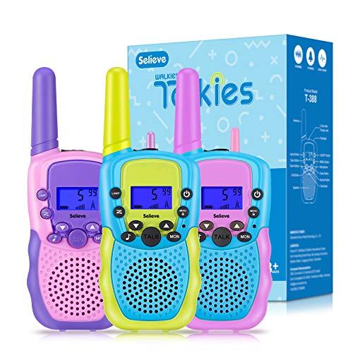 Selieve Juguetes para Niños Niñas de 3 a 8 Años Walkie Talkies Niños Niñas 3 KM de Largo Alcance Radio de 2 Vías Aventuras al Aire Libre Juguetes para Niñas, Regalos Ideal para Niños o Niñas 3