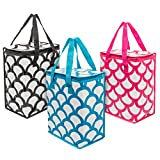 Planet E Reusable Cooler Bags – Colorful Collapsible Insulated Zippered Shopping Bags (Pack of 3)