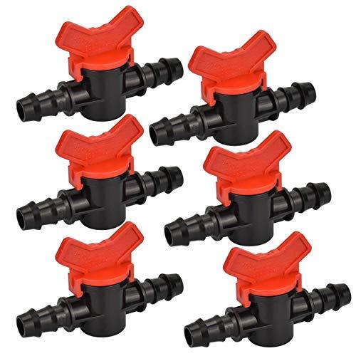 SRTYZ 20PCS Irrigación Suministros PE Interruptor de Válvula Plastico Grifo de Jardín Riego 16 * 16mm Tubería Cabeza Riego por Goteo Llave Regulación de Paso para Control de Agua Exterior-Negro Rojo