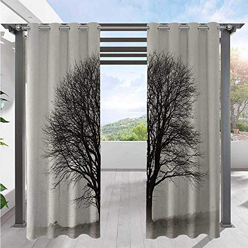 Adorise Home Curtains Lonely Tree in Field with Many Leafless Branches Countryside Vintage Home Fashion Window Panel Drapes Give Your Patio an Upscale Resort Look Ivory Dark Grey W120 x L108 Inch