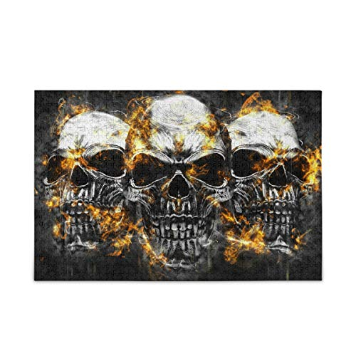 ALAZA Jigsaw Puzzles for Adults 500 Pieces Scary Vampire Skull Burning 3D Halloween Puzzle Buffalo Games