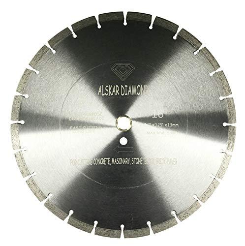 ALSKAR DIAMOND USA ADLSS 16 inch Dry or Wet Cutting General Purpose Segmented High Speed Diamond Saw Blades for Concrete Stone Brick Masonry (16