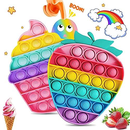 Push Pops Bubble Sensory Fidget Toy, Multicolore Silicone Bubble Fidget Squeeze Jouet Sensoriel pour Enfants Adultes, Bubble Popper Fidget Jouet Anti-Stress Jouets pour ADHD Autisme Besoins Spéciaux