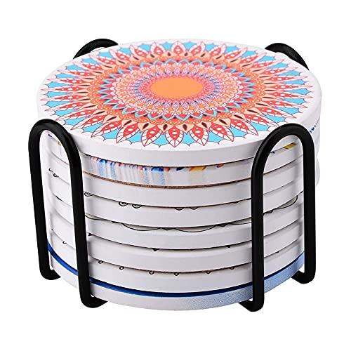 Posavasos de cerámica absorbente con soporte, posavasos decorativos de vidrio para vasos de cristal, 8 unidades, regalos de inauguración de la casa de cumpleaños de 10 cm