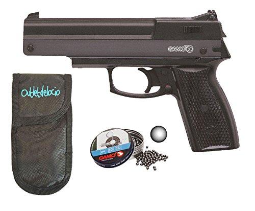 Outletdelocio. Pack Pistola perdigón Gamo AF-10 4,5mm. Carga Manual (no Necesita Botellas de Gas Co2). + Funda Portabalines + Balines. 37538/50523/23054